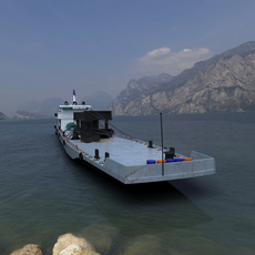 inland river transport barge 3D Model