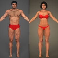Realistic Bodybuilder Male & Female 3D Model