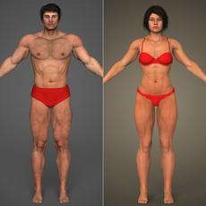 Realistic Bodybuilder Male & Female 3D Model