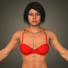 Realistic Bodybuilder Woman 3D Model