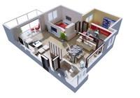 Condo Living Room 114 3D Model