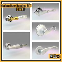 Modern Door Handles Set, 5 in 1 3D Model