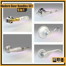 Modern Door Handles Set, 5 in 1 3D Model