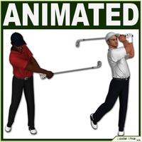 Golfer Players CG 3D Model