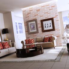 Condo Living Room 167 3D Model