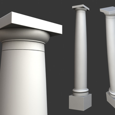 Vitruvius Tuscan Roman order column with pedestal high low poly 3D Model