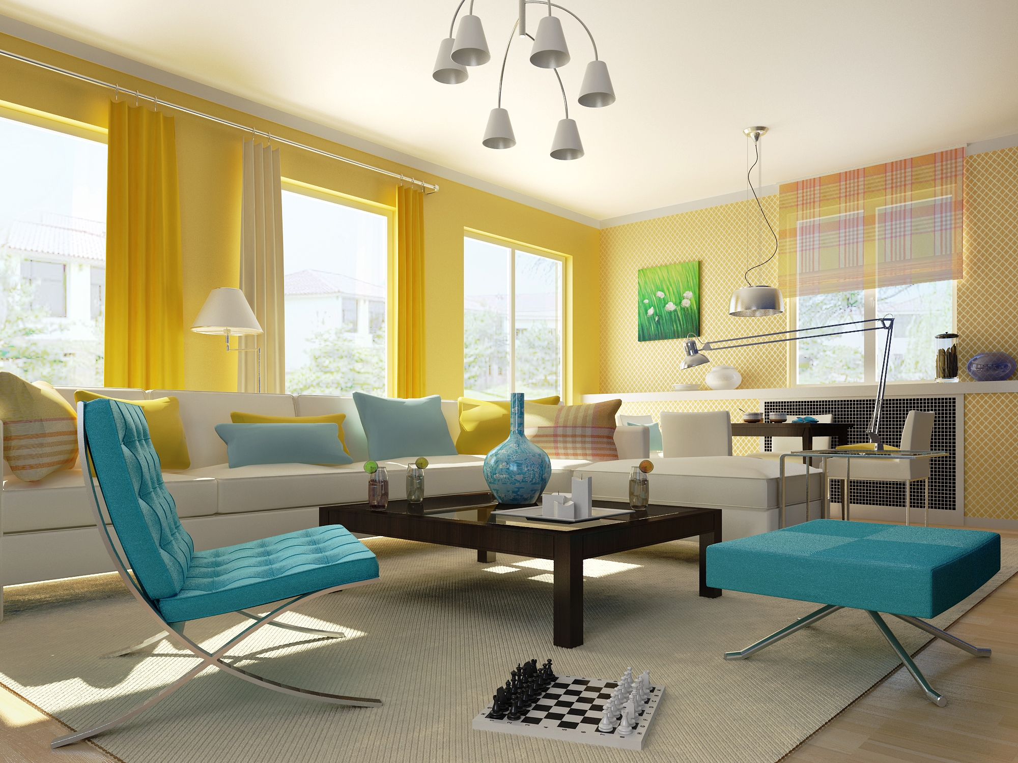 Condo living room 191 3d model for Living room 3d model