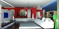 Condo Living Room 230 3D Model