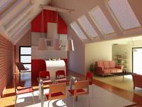Condo Living Room 240 3D Model