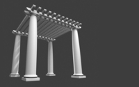 low high poly pergola Roman Tuscan garden park object 3D Model
