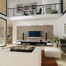 Condo Living Room 320 3D Model