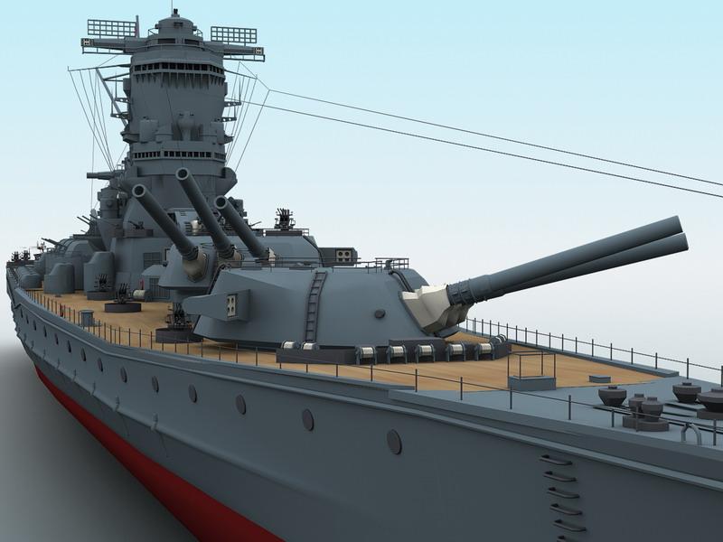 Yamato battleship 3d model - Yamato render ...
