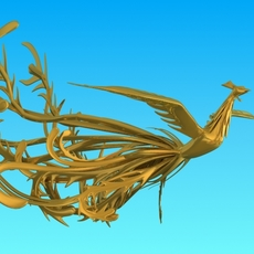 Golden Phoenix Sculpture 3D Model