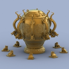 Chinese Antique Seismograph 3D Model