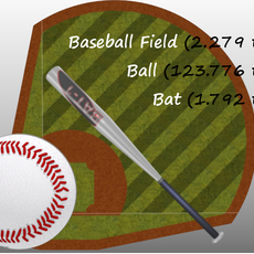 Baseball Field, Bat and Ball 3D Model