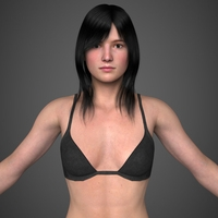Realistic Young Pretty Girl 3D Model