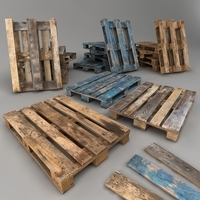 Euro Pallets Low Poly 3D Model