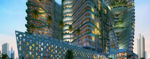 Night view exterior rendering wide