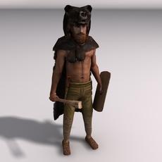 Low-Poly Bear warrior 3D Model