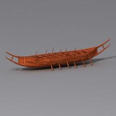 Ancient Row Boat 3D Model