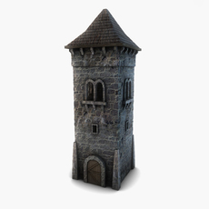 Low poly stone tower 3D Model