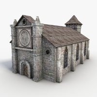 Low Poly stone church 3D Model