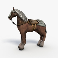 Low poly armored horse 3D Model