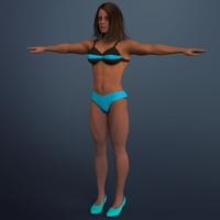 Muscular woman. 3D Model