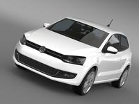 Volkswagen Polo 3d 2009-2013 3D Model