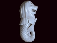 Merlion Creature Sculpture 3D Model
