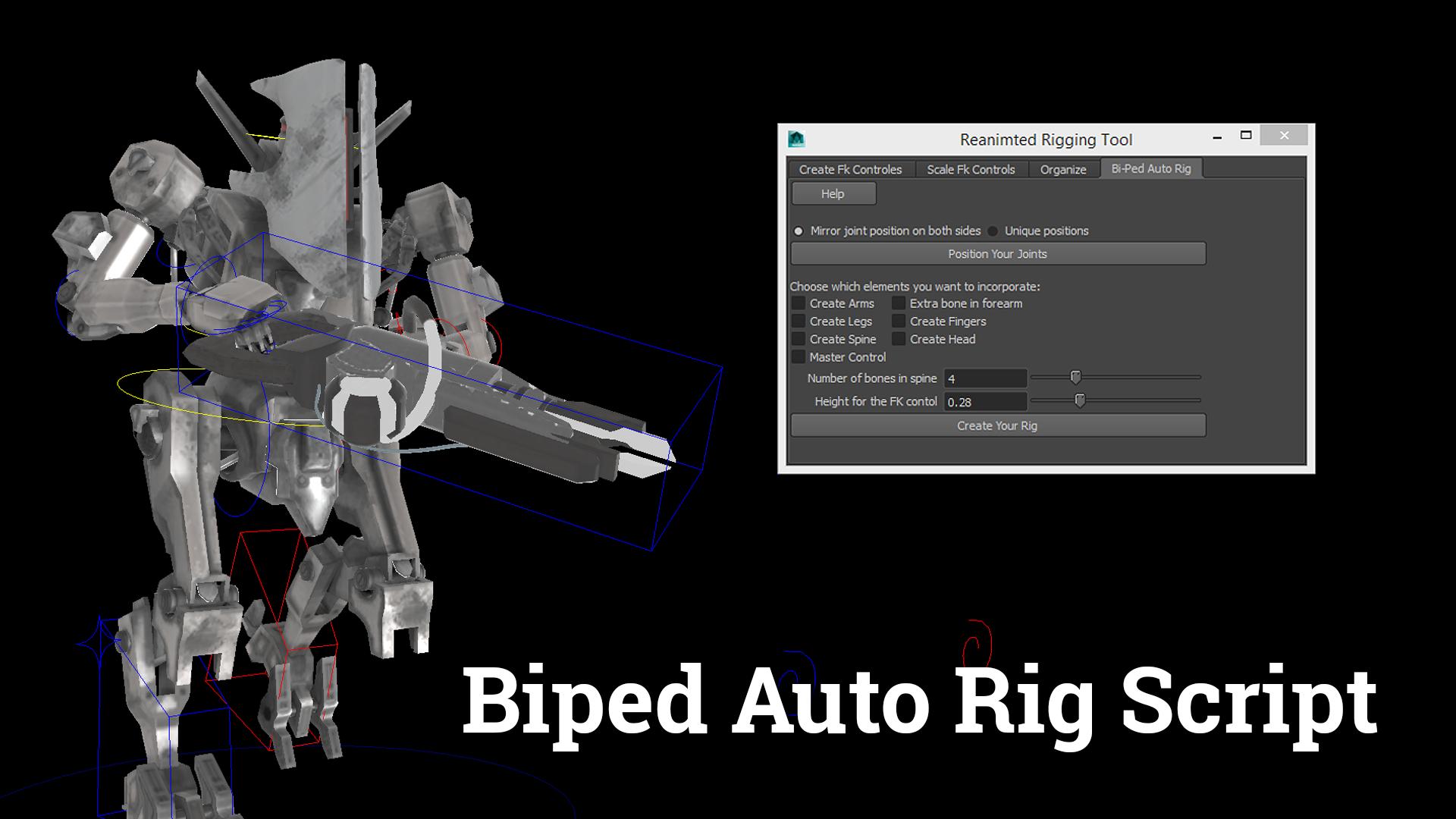 ReanimatedRigging - Biped Auto Rigging Script for Maya