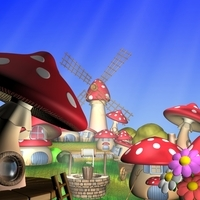Cartoon Mushroom Village 3D Model