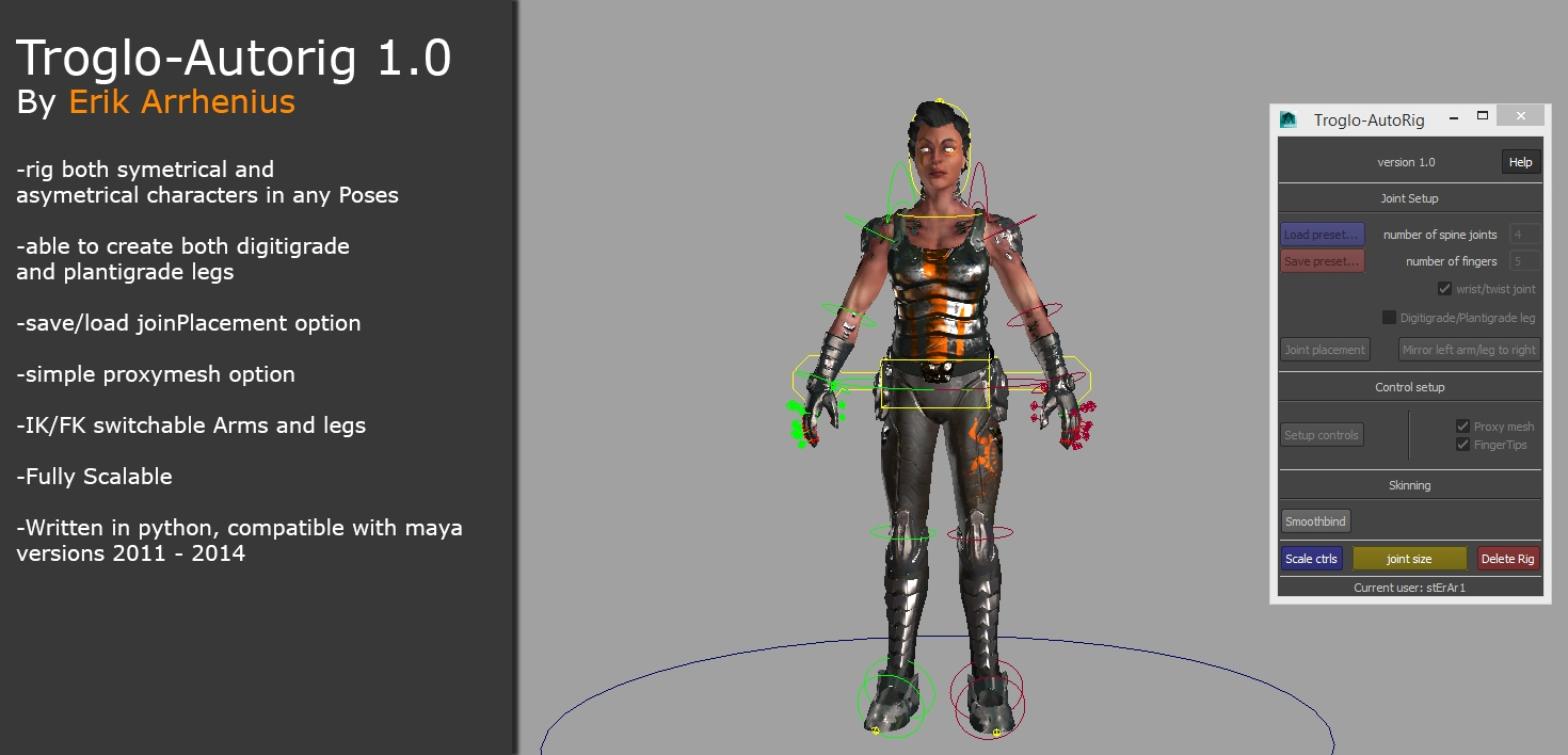 Troglo-Autorig, for biped game characters for Maya