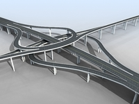 Freeway Overpass Cloverleaf Interchange 3D Model