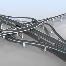 Freeway Overpass Cloverleaf Interchange 3D Model