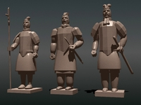 Chinese Terra Cotta Warrior Statues 3D Model