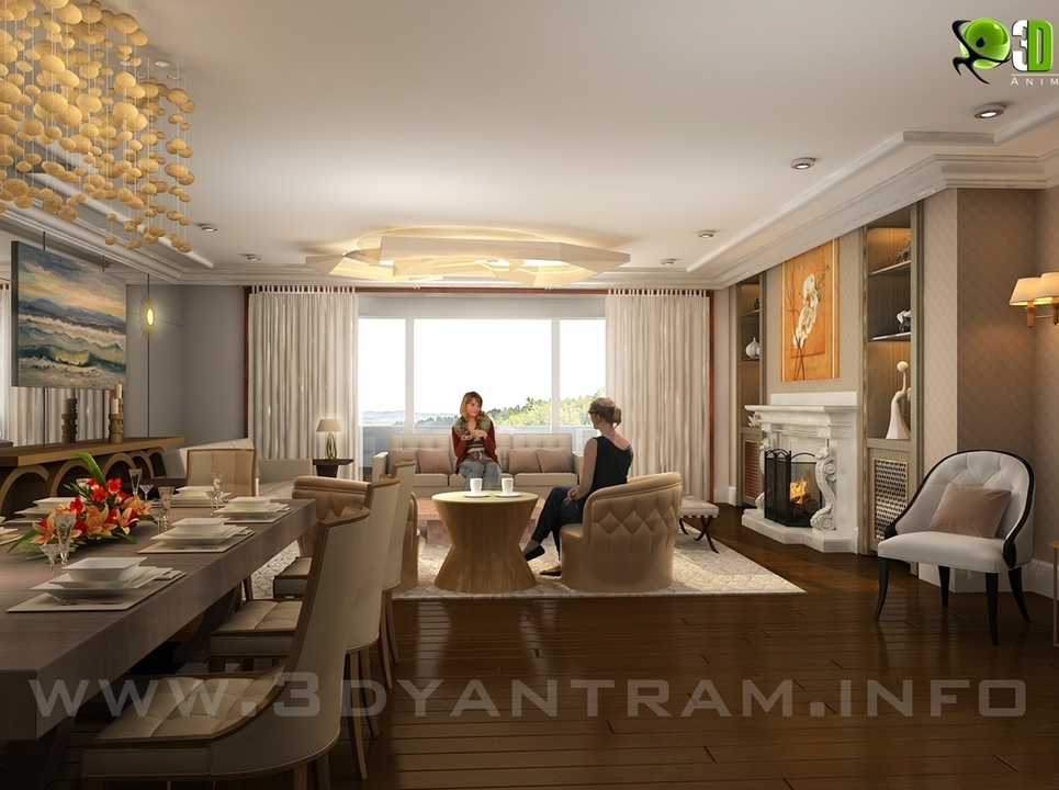 3d living room interior rendering design show