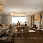 3d living room interior rendering design small