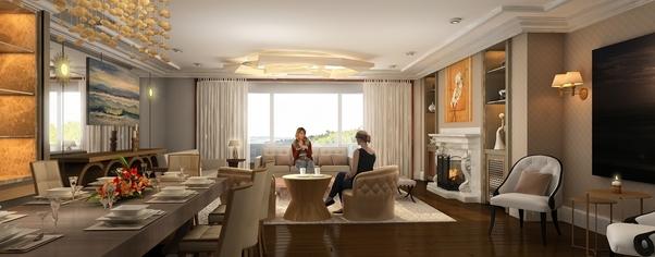 3d living room interior rendering design wide