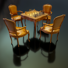 Chess Table & Armchairs 3D Model