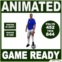 White Soccer Player 844tris 3D Model