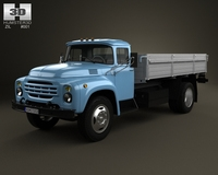 ZIL 130 Flatbed Truck 2-axis 1964 3D Model
