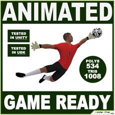 White Soccer Goalkeeper 1008 tris 3D Model