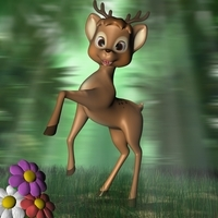 Cartoon Deer Rigged 3D Model