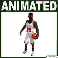 Black Basketball Player Animated 3D Model