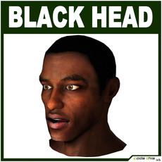 Low Poly Black Male Head 3D Model