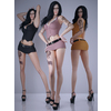 Realistic black hair woman wearing sexy mini skirt with belt and glasses - 3 poses 3 outfits 3D Model