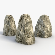 Low poly rune stones 3D Model
