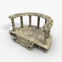 Low poly temple altar 3D Model