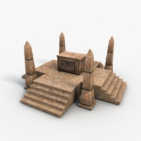 Low poly egyptian box with obelisks 3D Model